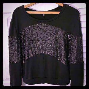 Black Sequin Sweatshirt